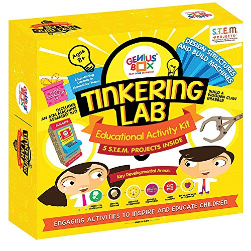 Genius Box Tinkering Lab Toddler kit | 5 STEM Project Inside | DIY Activity Kit | Puzzles Game for Over 5 Years Kids | Design Structure and Build Machine Learning Activity Set | Education Toys Gift