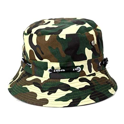 19ce0f4e668fcc Image Unavailable. Image not available for. Color: MAOZIJIE Women Men  Bucket Hats Caps Jungle Camouflage Casual Hip Hop Wide Brim Fisherman Hat  Summer