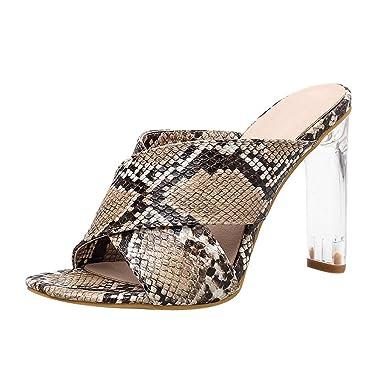 Women Snakeskin Glass Sandal High Heel Slipper Open Toe Slide Platform  Sandal (Brown 0c0bc691f088