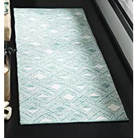 Safavieh Montauk Collection MTK614H Aqua Blue and Ivory Runner (23 x 7)