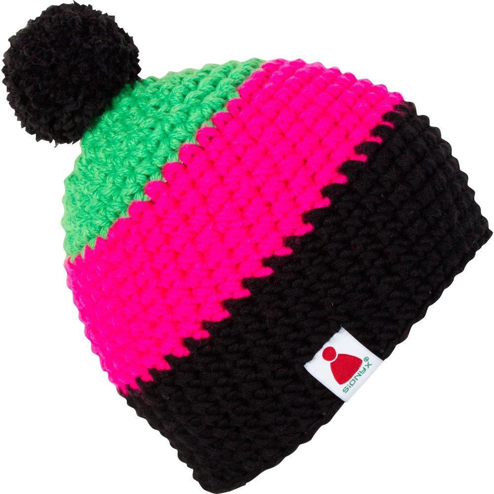 BobbyNEON Sionyx Mütze mit Streifen gehäkelt MIT Bommel in Handarbeit für Sport und Freizeit Damen Herren Unisex Bommelmütze Beanie Snowboard Ski