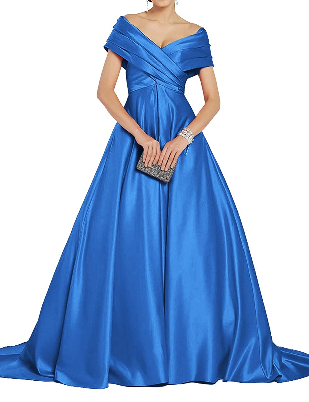bluee Uther Off Shoulder Prom Dresses Long ALine Satin Ball Gowns for Women Formal Evening