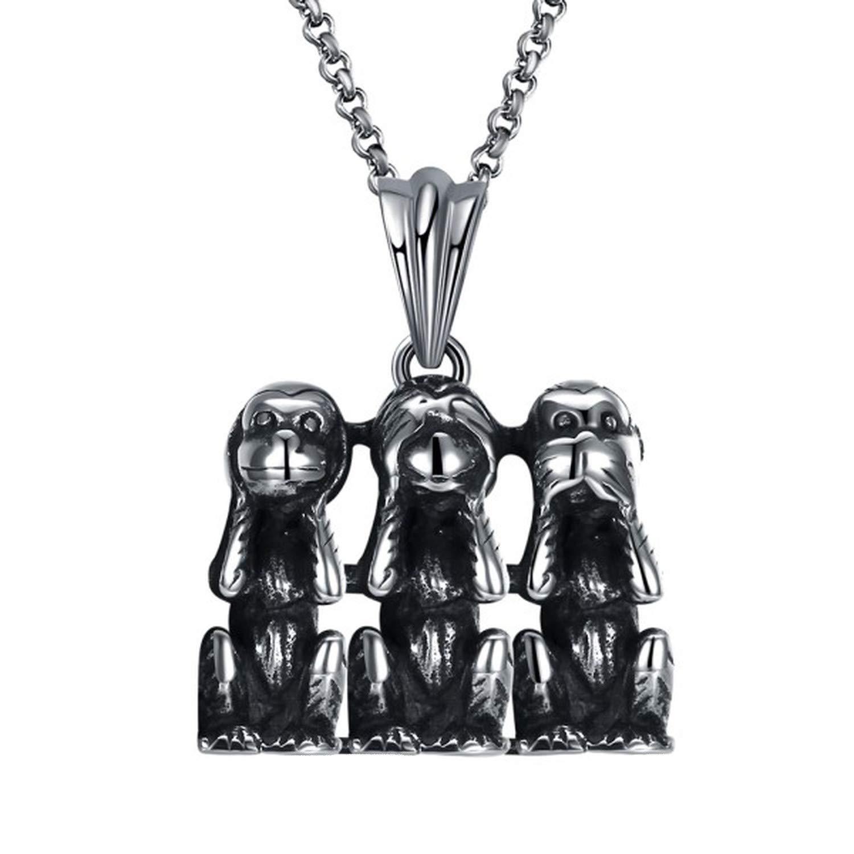 Trendy Punk Men Pendant Necklace Cute Three Monkey Titanium Stainless Steel Classic Vintage Rock Hiphop Choker Jewelry Nightclub