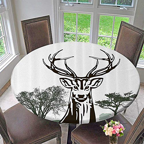 Outline Toilet Roll - Mikihome Circular Table Cover Deer Moose with Trees Silhouettes Outline of Village Mountain ll Forest Bathroom 43.5