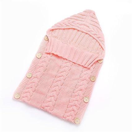 pengyu recién nacido bebé Crochet de Punto Bebé Swaddle Wrap muselina manta saco de dormir rosa