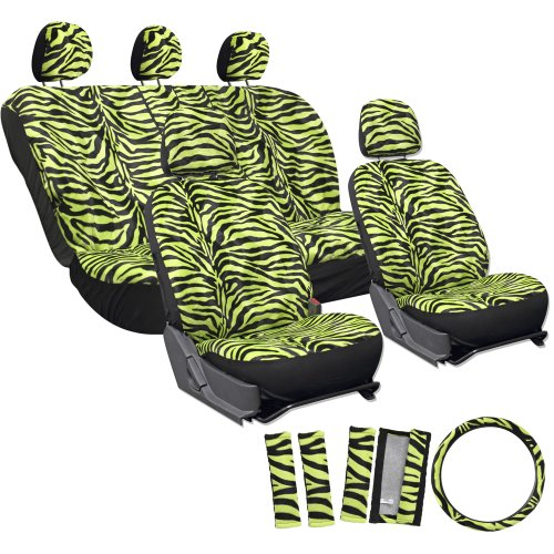 OxGord 17pc Zebra Animal Print Seat Cover Set for Lincoln MKS, Airbag Compatible, Split Bench, Neon Electric Green & Black (Car Seat Covers Neon Green compare prices)