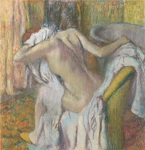 Polyster Canvas ,the High Resolution Art Decorative Canvas Prints Of Oil Painting 'Hilaire Germain Edgar Degas After The Bath Woman Drying Herself ', 8 X 8 Inch / 20 X 21 Cm Is Best For Bedroom Decor And Home Gallery Art And Gifts