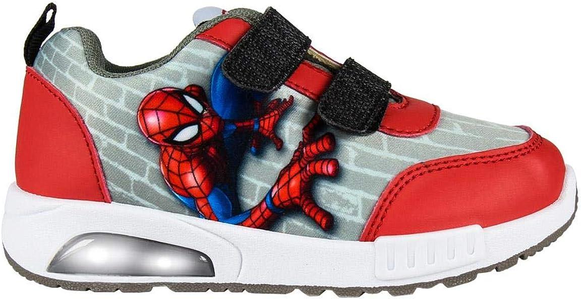 Marvel Spiderman Zapatos Deportivas para Niños, Zapatillas Deportivas Ligeras, Divertido Diseño con Luces, Cierre de Velcro Fácil, Regalo para Niños! Tallas EU 25 a 32