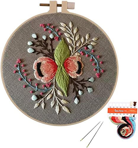 SoonCat Beginner Embroidery Kit Flower Full Range Cross Stitch with Pattern Stamped DIY Embroidery Kits Set for Starter Needlepoint Kits for Adults//Students Bloom
