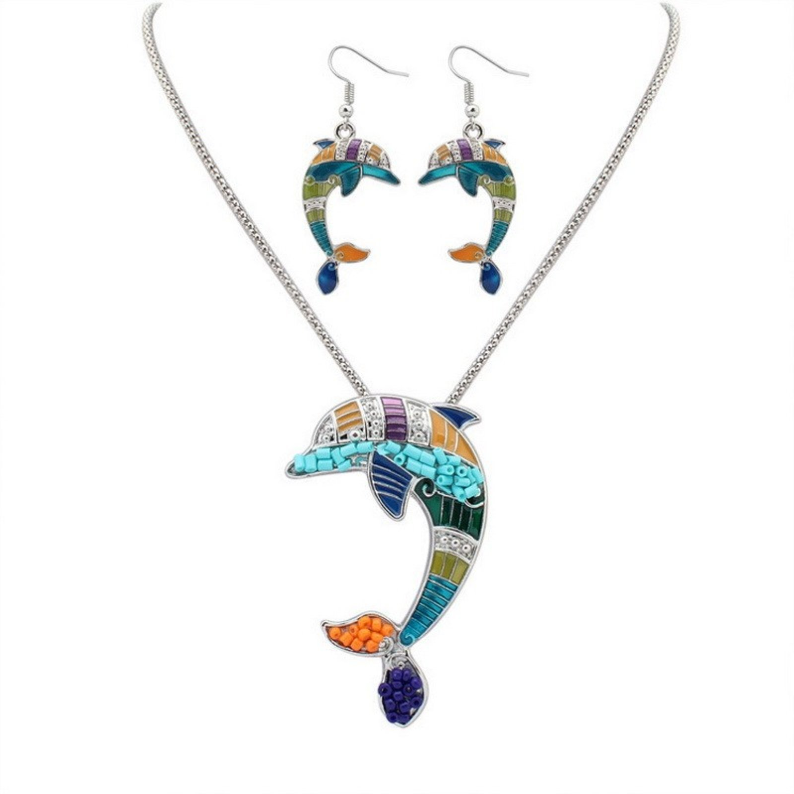 ptk12 Fashion Jewelry Vintage Enemal Colorful Animal Dolphins Necklace Earring Sets Top Quality Women