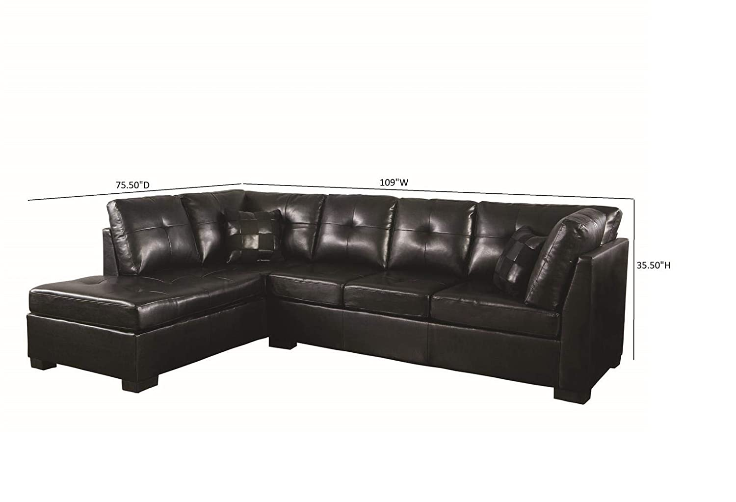 Marvelous Darie Sectional Sofa With Left Side Chaise Black Pabps2019 Chair Design Images Pabps2019Com
