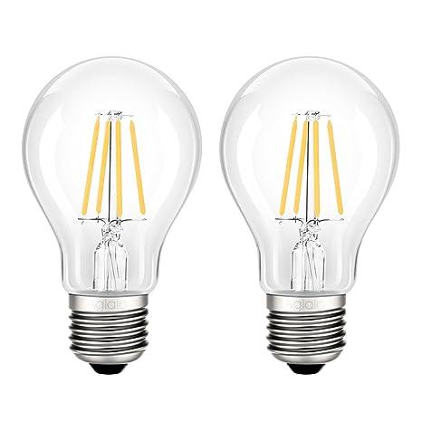 Bombillas LED E27, 4 W, A60, luz filamento incandescente equivalente 40 W,