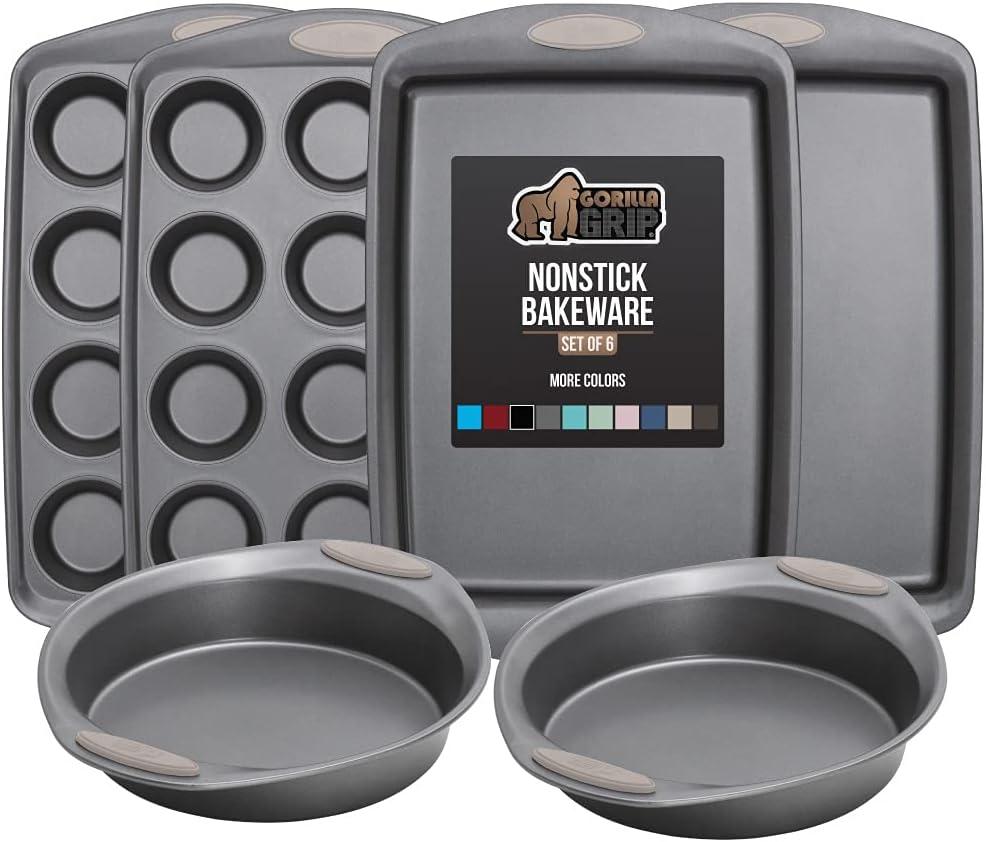 Gorilla Grip Bakeware Sets Nonstick Max 74% OFF Steel Duty Cash special price Heavy 6 Carbon