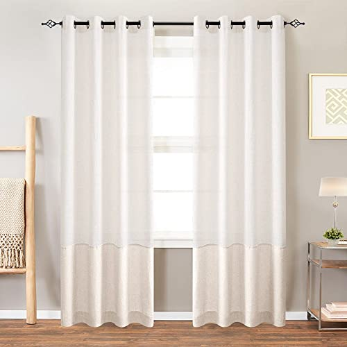 Colorblock Linen Curtains for Living Room 84 Inches Window Treatments for Bedroom Ring Top 2 Panels White x Flax