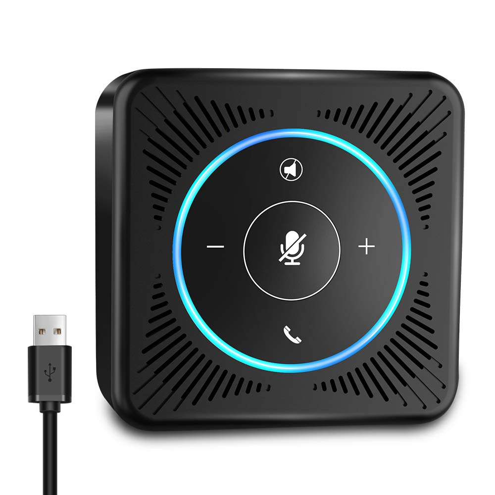 USB Speakerphone - eMeet M0 Conference Speaker for 8-10 People Business Conference Phone 360° Voice Pickup 4 AI Microphones USB Skype Speakerphone Conference Call Speaker Plug and Play