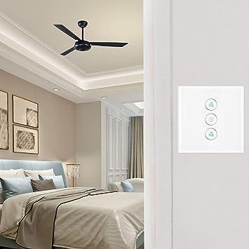 ALLOMN Interruttore Luce Ventilatore WiFi Fan+Luce Interruttore Regolatore di Velocit/à Della Ventola Fan Luce Timer Compatibile con Alexa Google Home App Controllo Vocale Remoto per Fan e Luce