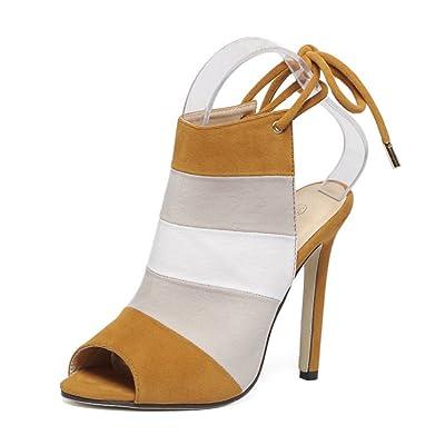 Été Mme Spelling Sandales Bandage Arc-En-Pied Sangles Coloré Fish Head Sandals Chaussures à talons hauts GAOLIXIA