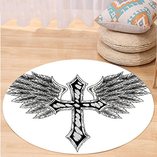 VROSELV Custom carpetGothic Decor Collection Heraldic Wing and Cross Christ and Christian Fable Feathers Faith King Heraldic Artwork Bedroom Living Room Dorm Black Grey Round 79 inches by VROSELV