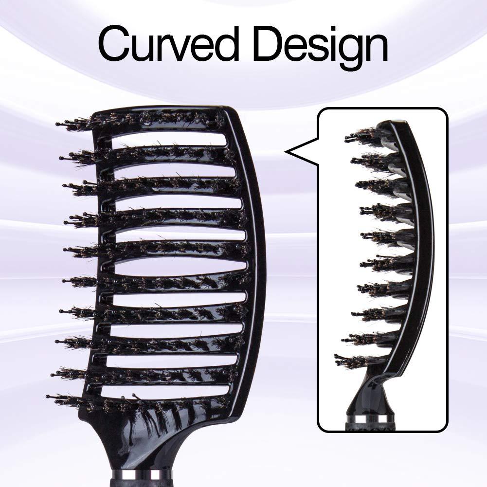 Cepillo Kaiercat de cerdas de jabalí, mejor en desenredar cabello grueso, ventilado para un secado más rápido; con cerdas de jabalí 100% naturales para la ...