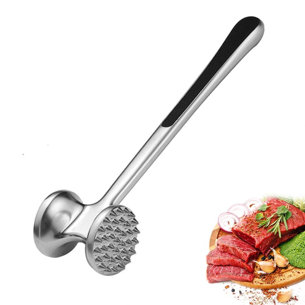 Meat Tenderizer Mallet Double Sides Meat Hammer Pounder with Non-Slip Handle for Tenderizing Beef Pork Veal Steak Chicken (Silver)