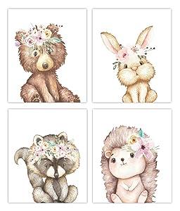 Little Baby Watercolor Animals Floral Crown Woodland Prints Set of 4 (Unframed) Nursery Decor Art (8x10) (Option 1)