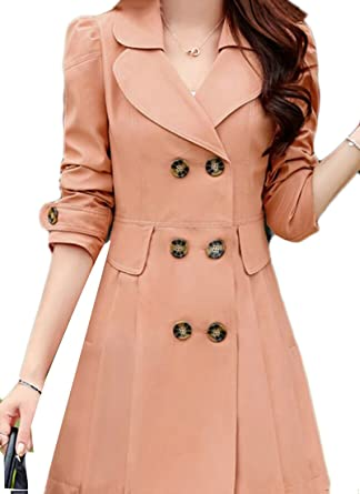 7be0c2713f Gocgt Women's Double Breasted Pleated Long Parka Trench Coats Jackets ...