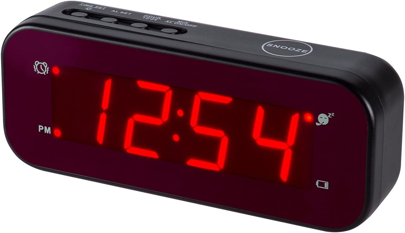 Timegyro Reloj Despertador LED fácil configuración y con batería Solo Grandes dígitos Rojos para Dormitorio/Sala de Estar/Viaje (Negro)