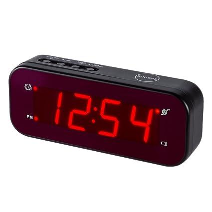 Reloj despertador LED Timegyro de fácil configuración y con batería solo grandes dígitos rojos para dormitorio / sala de estar / viaje (negro)