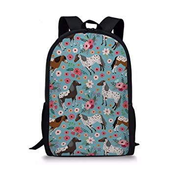 1b5c32a28e60 Dellukee Girl School Bag Floral Horse Print Cute Stylish Youth Daypack  Backpack