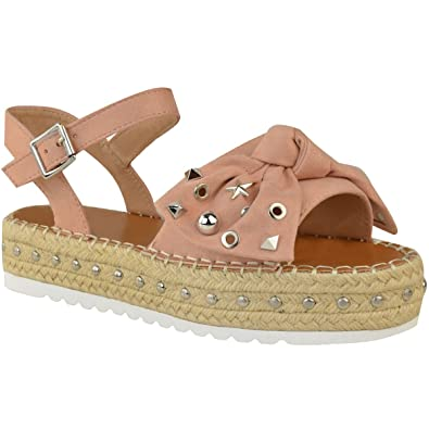 Fashion Thirsty Damen Espadrilles-Sandalen mit Plateausohle - Nieten-Details