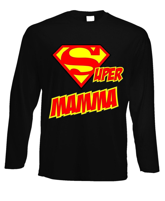 fashwork Tshirt a Maniche Lunghe Super Mamma- Festa della Mamma - Happy Mother's Day - in Cotone by fshlX09