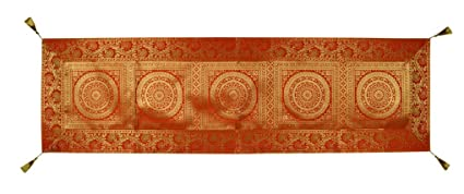 Lalhaveli Ethnic Decorative Silk Table Runner (Orange)