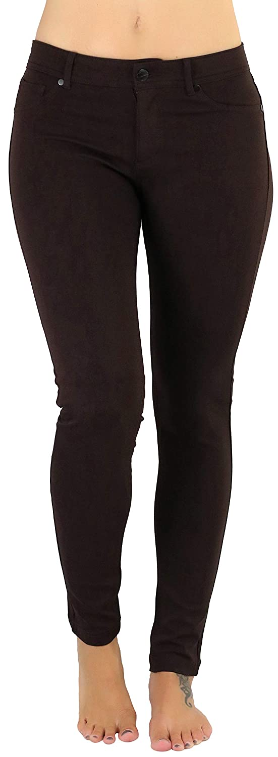 New Brown ToBeInStyle Women's 5Pocket Skinny Fit Ponte Pants