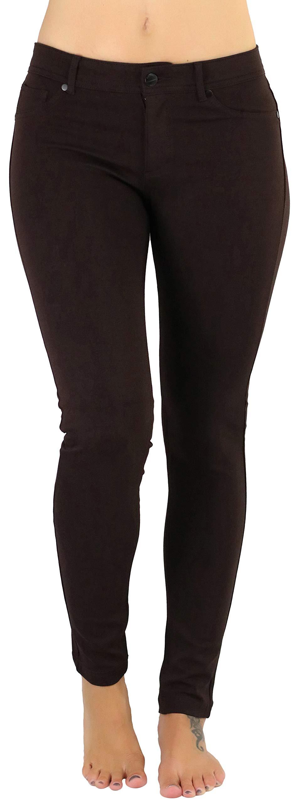 ToBeInStyle Women's 5-Pocket Skinny Fit Ponte Pants - New Brown - Large