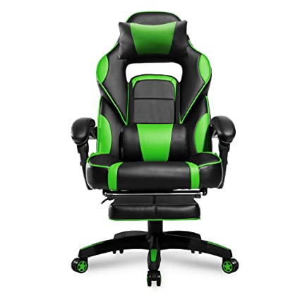 Merax High Back Racing Home Office Chair, Ergonomic Gaming Chair With  Footrest, PU