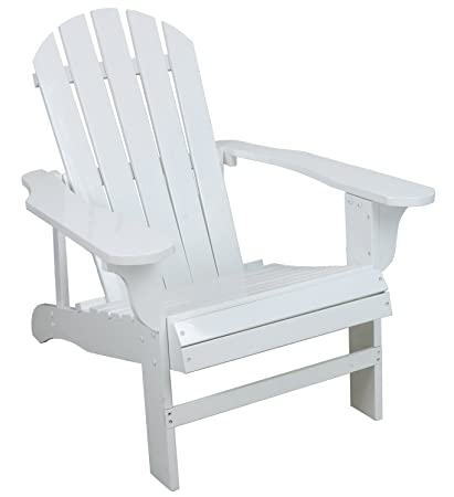 Superb Classic White Painted Wood Adirondack Chair