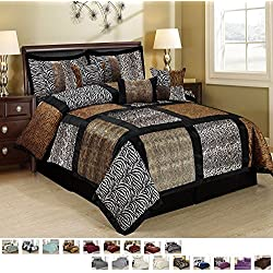 HUAJIE 7 Piece Embroidered Fuax Fur Safari Patchwork Pattern Comforter Set Bed in a Bag with Bed Skirt and Decorative Pillows Shams (King, Multicolor Marten)