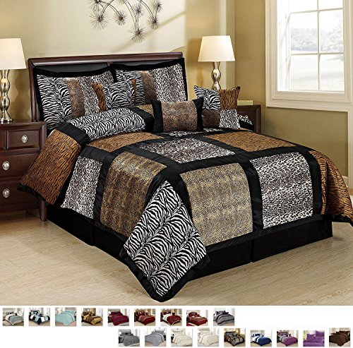 - 7 Piece Embroidered Fuax Fur Safari Patchwork Pattern Comforter Set Bed in a Bag with Bed Skirt and Decorative Pillows Shams (King, Multicolor Marten)