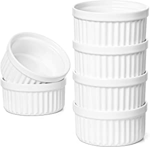 LE TAUCI 8 Oz Ramekins, Souffle Dishes, Ramekin Set for Creme Brulee, Set of 6, Oven Safe, Oyster White
