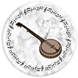 Banjo Player Gift - Music Notes in Circle - White