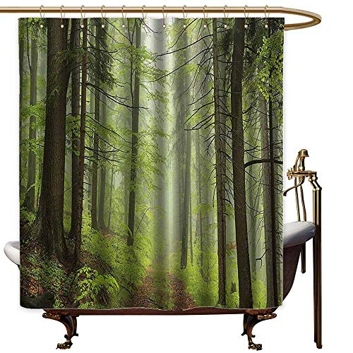 - Bathtub Splash Guard,Outdoor Trail Trough Foggy Alders Beeches Oaks Coniferous Grove Hiking Theme,Shower Curtain with Hooks,W72x72L,Light Green Light Yellow