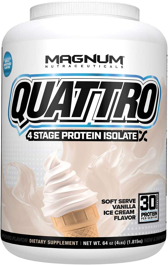 Magnum Nutraceuticals Quattro Soft Serve Vanilla Ice Cream Lactose-Free Protein Powder for Men Women 4 lbs.
