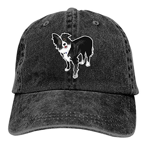 - Ringkyo A Border Collie Washed Dyed Cotton Adjustable Cowboy Baseball Cap Black