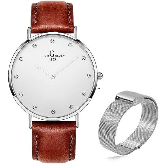 8a301fb25358 Reloj Ultra Fino para Hombre Minimalista Moda Relojes de Pulsera para  Hombres Vestir Casual Impermeable Reloj de Cuarzo para con Banda de Acero  ...