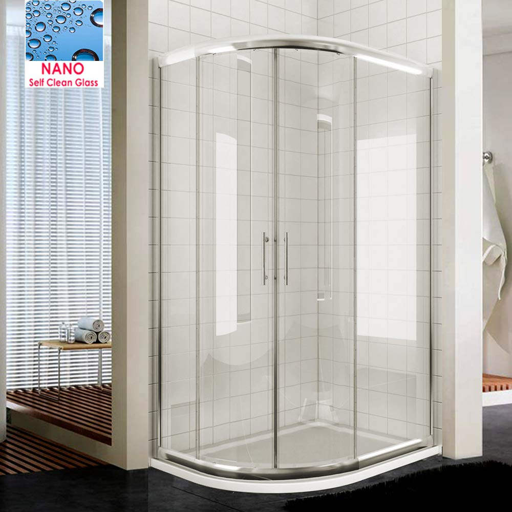 ELEGANT 800 x 800 mm Quadrant Shower Cubicle 8mm Easy Clean Glass Sliding Door Shower Enclosure and Shower Tray+Waste