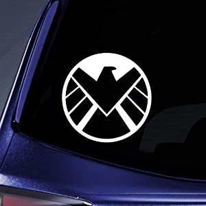 "Bargain Max Decals Modern Shield Logo Sticker Decal Notebook Car Laptop 5.5"" (White)"