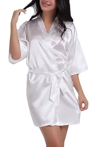 Albornoces Mujer Pijamas Bata Kimono Corto Verano Camison Elegantes Suave Cómodos V Cuello Color Sólido Albornoz