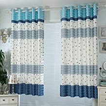 SimpVale 2 Pieces Home Fashion Watercolor Painting Art Pastoral Short Curtain Shading(2m2m,Blue)