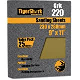 TigerShark 9 inch by 11 inch Sanding Sheets Grit 220 25pcs Pack Paper Gold Line Special Anti Clog Coating