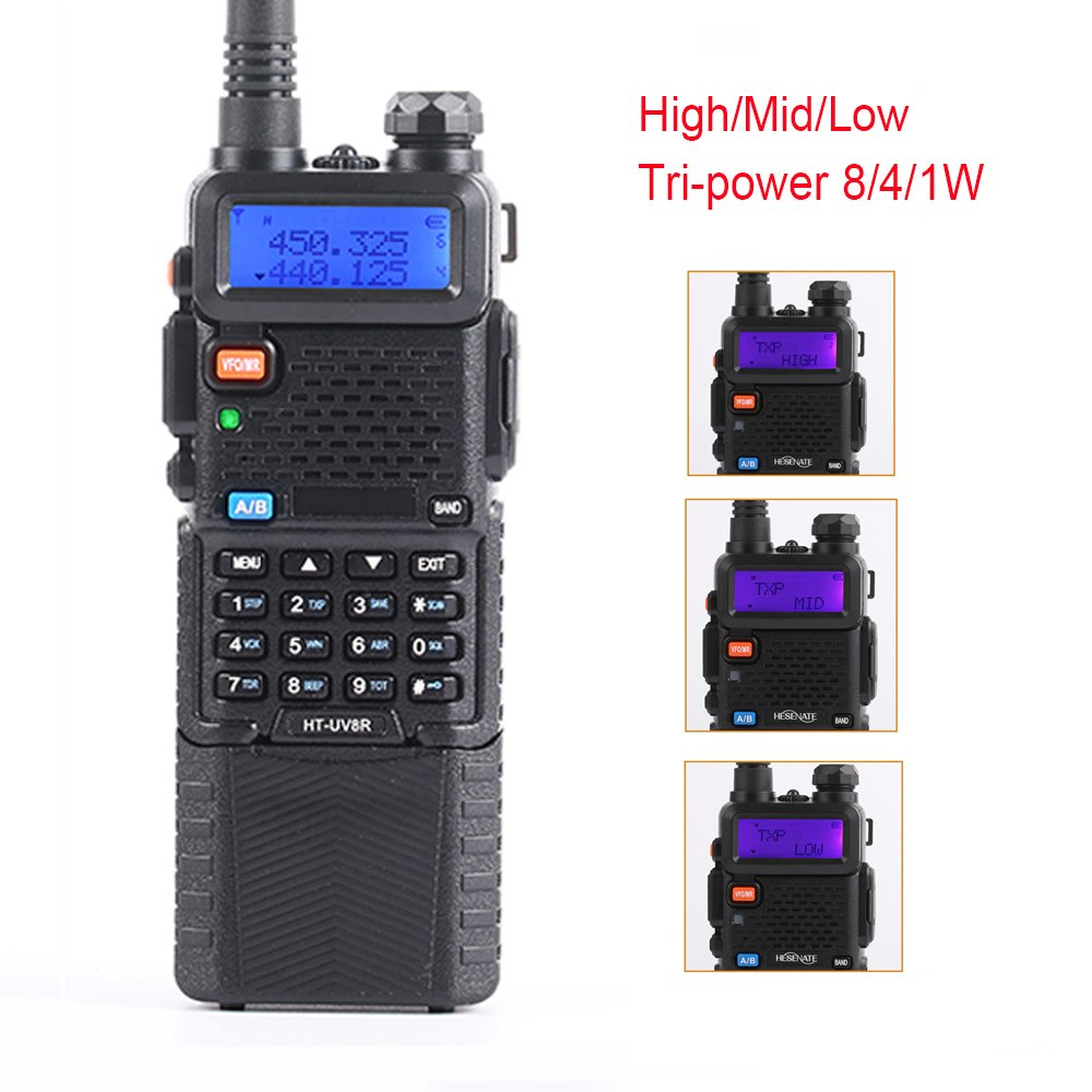 HESENATE HT-UV8R Plus High Power 8-Watt w 3800mAh Large Battery Two-Way Radio Dual Band 2M 70CM Tri-Power Handheld Transceiver Portable Walkie Talkies Long Range HAM Radio